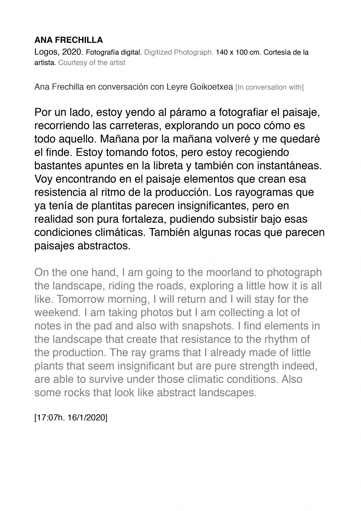 Intervalo lúcido. Consciencias del espacio (2020) - Ana Frechilla, Artes Visuales