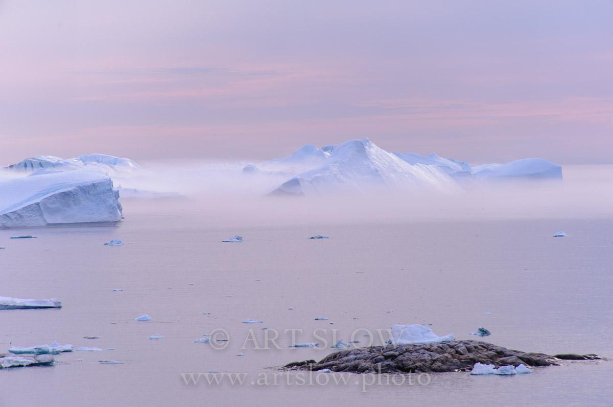 Luces ärticas - Ilulisat, Icebergs desprendidos del glaciar Sermeq Kujalleq, Bahía de Disko, Greenland. Edición: 10/10 + 2P/A - Greenland Catedrales de Hielo - Catedrales de Hielo