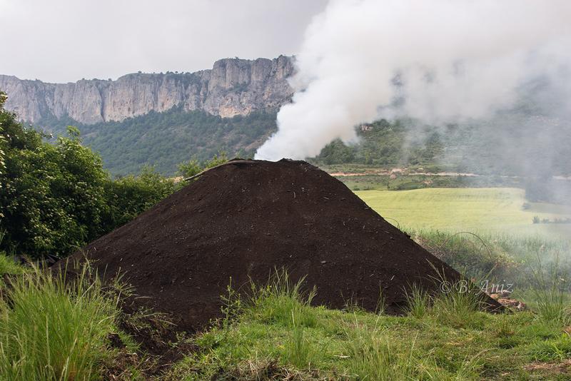 Carbonera y Sierra de Lokiz al fondo - Oficio de carbonero - Bakartxo Aniz - Fotografías sobre el oficio de Carbonero - Valle de Lana.