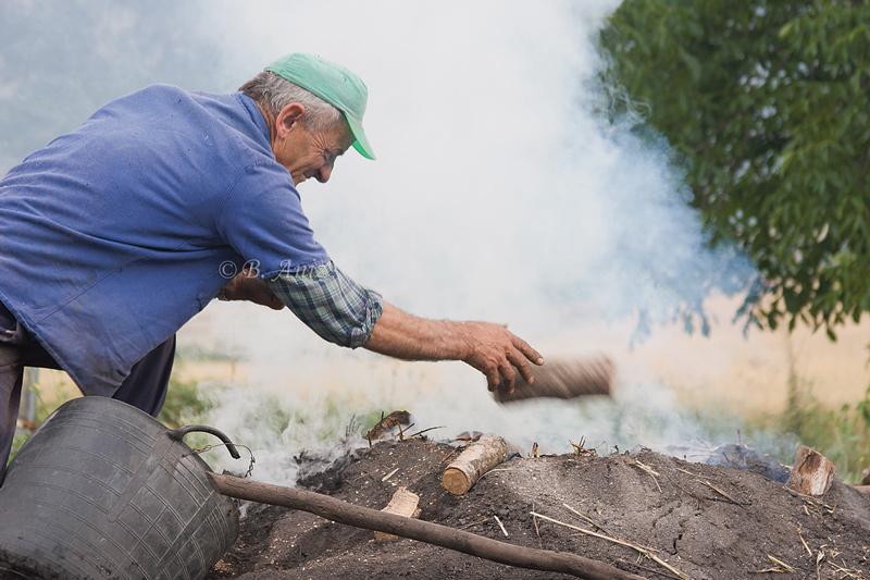 Alimentando la carbonera - Oficio de carbonero - Bakartxo Aniz - Fotografías sobre el oficio de Carbonero - Valle de Lana.