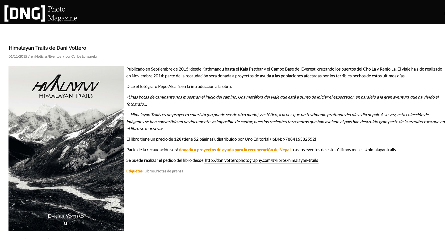 PhotoDNG Magazine, Himalayan Trails | Dani Vottero, fotógrafo de viajes - SCRAPBOOK - Scrapbook | Prensa y Publicaciones | Dani Vottero