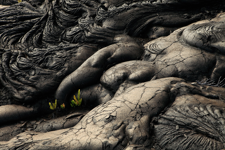 Pāhoehoe - Flujos de lava, volcán Kilauea, Parque Nacional de Volcanes de Hawai, EE.UU.