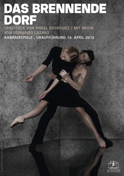 Cartel Ballet La Aldea en Llamas - The Burning Village Ballet poster - Fernando Lázaro, Composer and Pianist