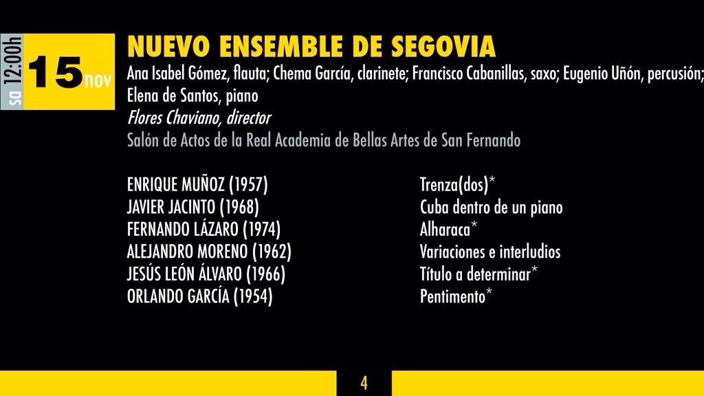 Programa del XVI Festival Internacional de Música Contemporánea de Madrid (COMA). Estreno de mi obra