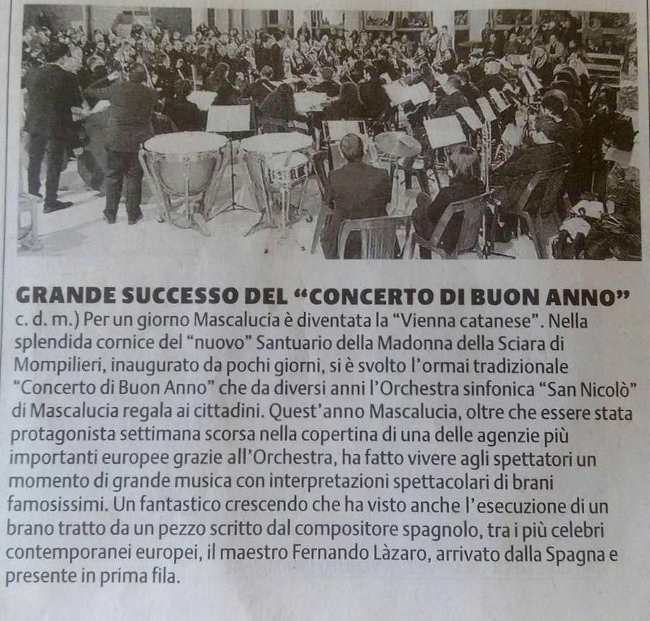 Prensa siciliana del 5 de enero 2016 (mi nombre en las lineas finales). - Imágenes - Fernando Lázaro, Composer and Pianist
