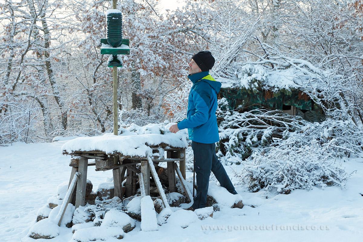 Fotografiando aves en comedero de invierno. España - Making of - J L Gómez de Francisco. Fotografía de making of - Making of