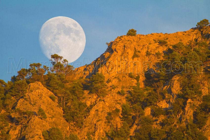 Luna llena saliente al atardecer. Puig de sa Galera, sierra de Tramuntana, Mallorca - Tramuntana, una Isla dentro de otra - Tramuntana, una isla dentro de otra