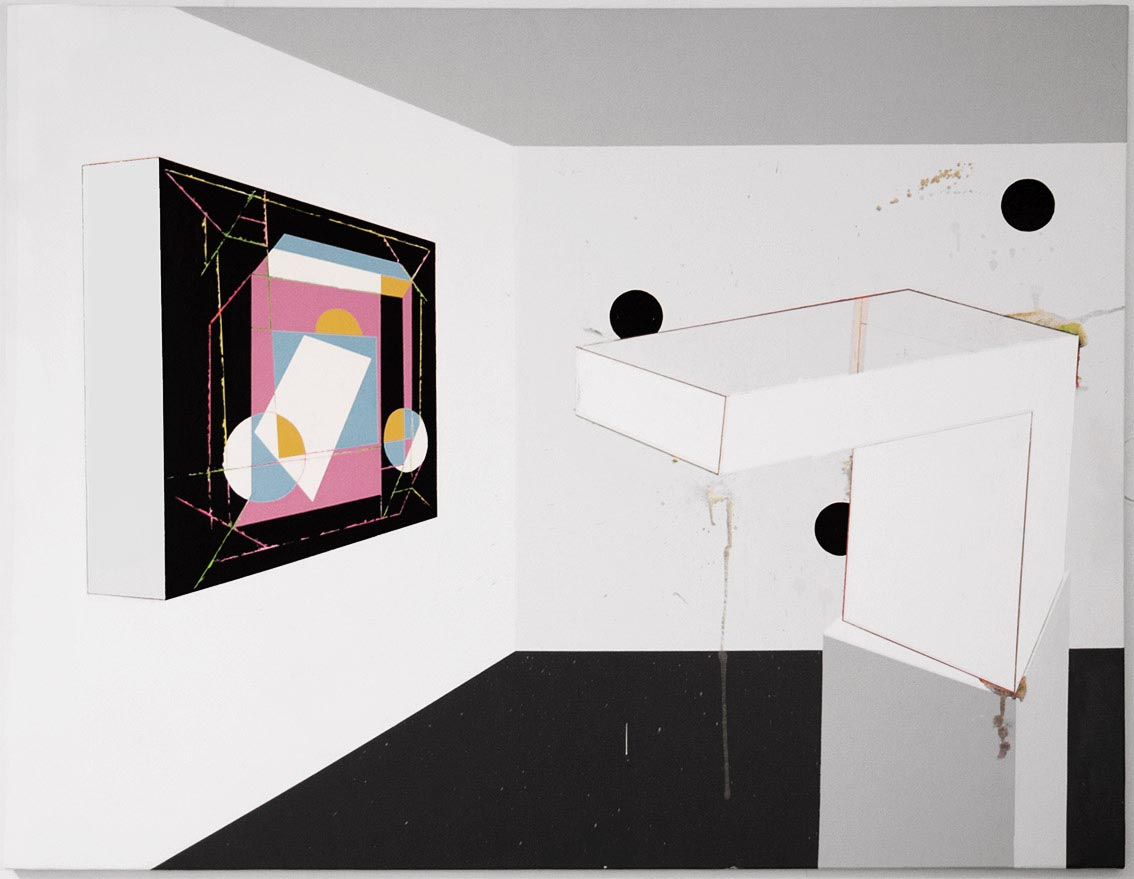 Sculpture and painting in a pop room exhibits / 2015 / Acrylic painting  on canvas  /  146x114 cm - STAGE  - Pere Galera