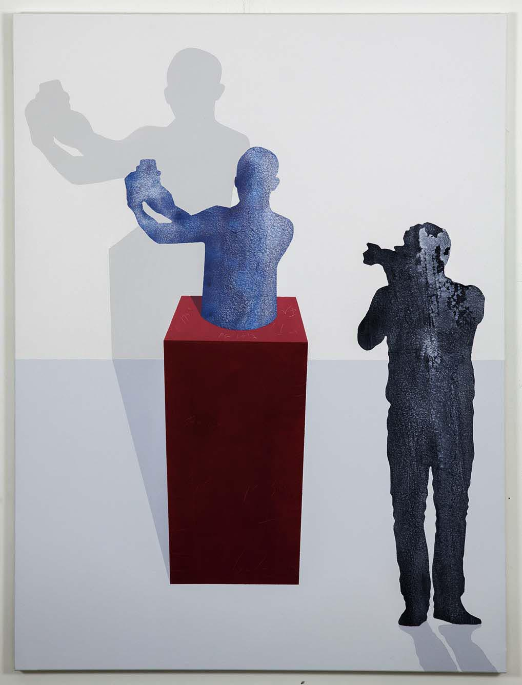 Selfie Sculpture on red stand / 2017 / Acrylic painting on canvas  / 130x100 - STAGE  - Pere Galera