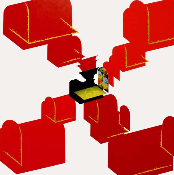 Red chests / 2005 / Acrylic on canvas on wood plate and methacrylate  / 120x120x5 cm - HOME - Pere Galera. Paintings