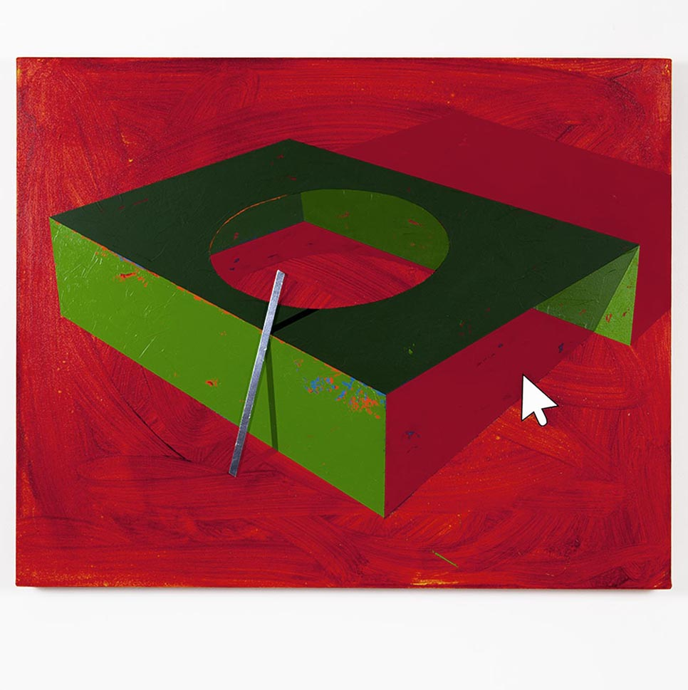 Green box with hole in light red background / 2017 / Acrylic paint, wooden stick and metal tape / 77x62x5,5 cm - HOME - Pere Galera. Paintings
