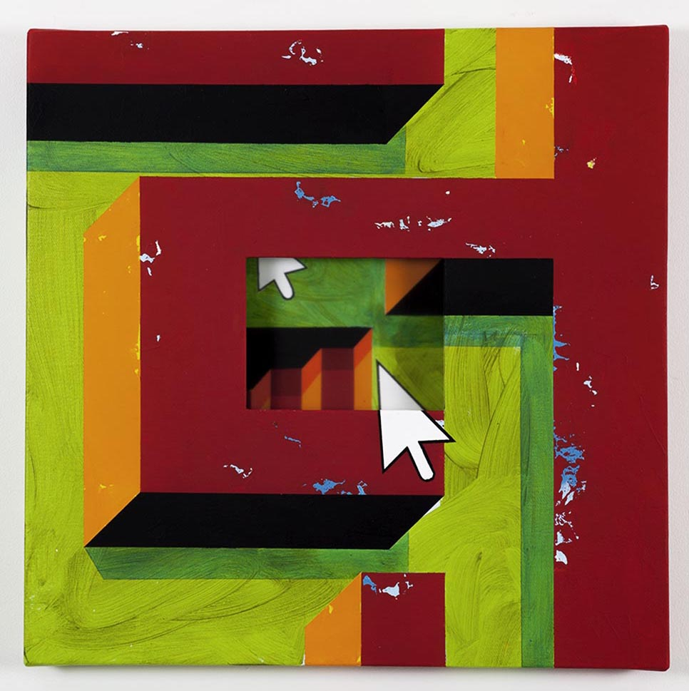 Red labyrinth with stairs / 2018 /Acrylic painting, plexiglas and wooden box on the back / 50x50x5,5 cm - HOME - Pere Galera. Paintings