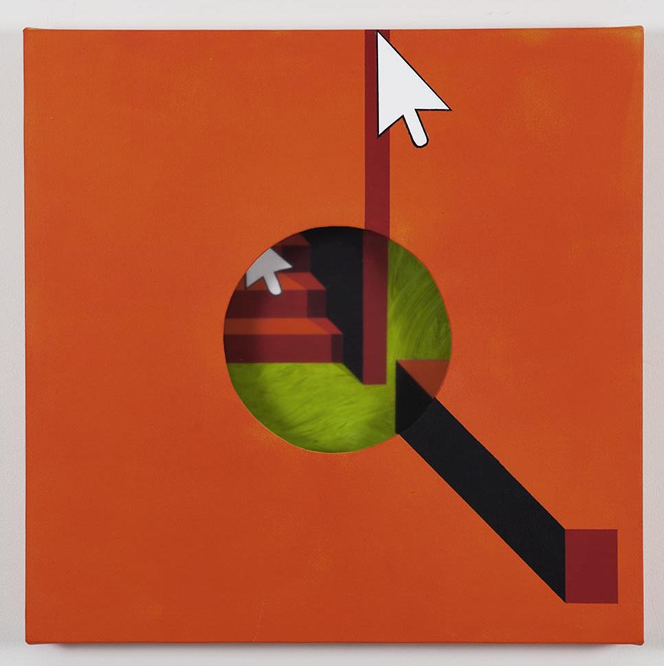 Hole in orange background / 2018 / Acrylic painting, plexiglas and wooden box on the back / 50x50x5,5 cm - HOME - Pere Galera. Paintings