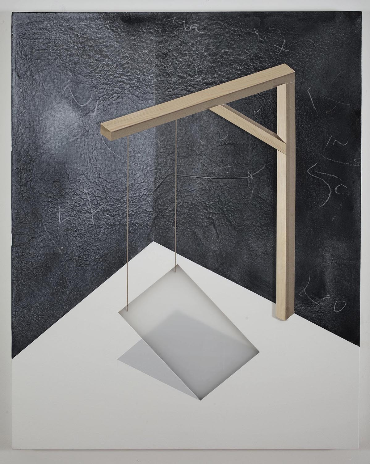 Domestic crane / 2016 / Acrylic painting, plexiglass, wooden strip and  and cardboard on canvas /  100x80 cm - STAGE  - Pere Galera
