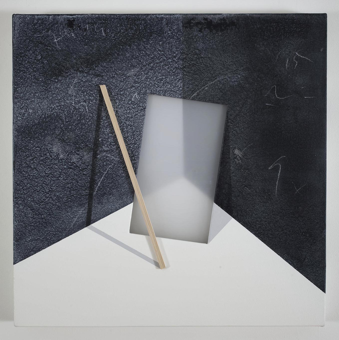 Wooden slat and Plexiglas sheet in a corner of a room / 2016 / Acrylic paint,  wooden strip and plexiglass  on canvas / 50x50 cm   - STAGE  - Pere Galera