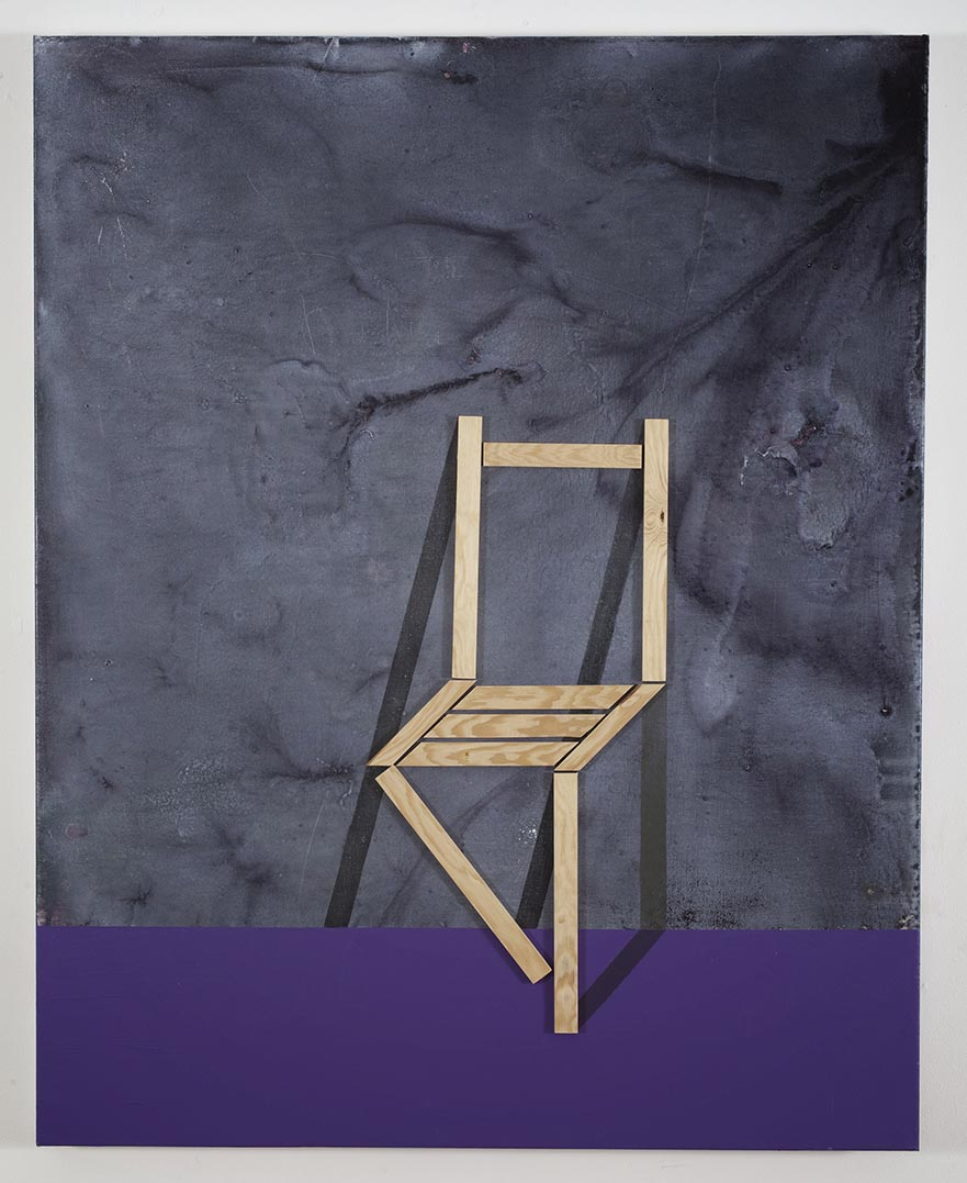 Paradoxical chair  / 2016 /  Acrylic paint and wooden strip on canvas / 100x80 cm each  - STAGE  - Pere Galera