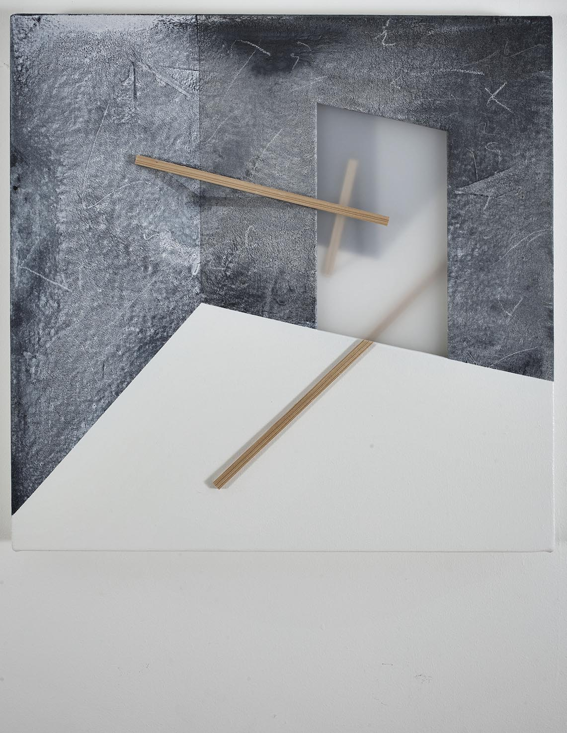 Metaphysical choreography / 2016 / Acrylic paint,  wooden strip and plexiglass  on canvas / 50x50 cm   - STAGE  - Pere Galera