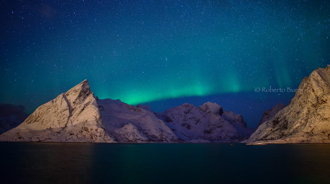 La aurora verde - Islas Lofoten - Islas Lofoten, Noruega. Roberto bueno. Paisajes de invierno