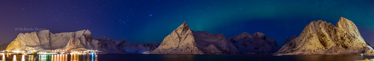 Aurora panorámica - Islas Lofoten - Islas Lofoten, Noruega. Roberto bueno. Paisajes de invierno