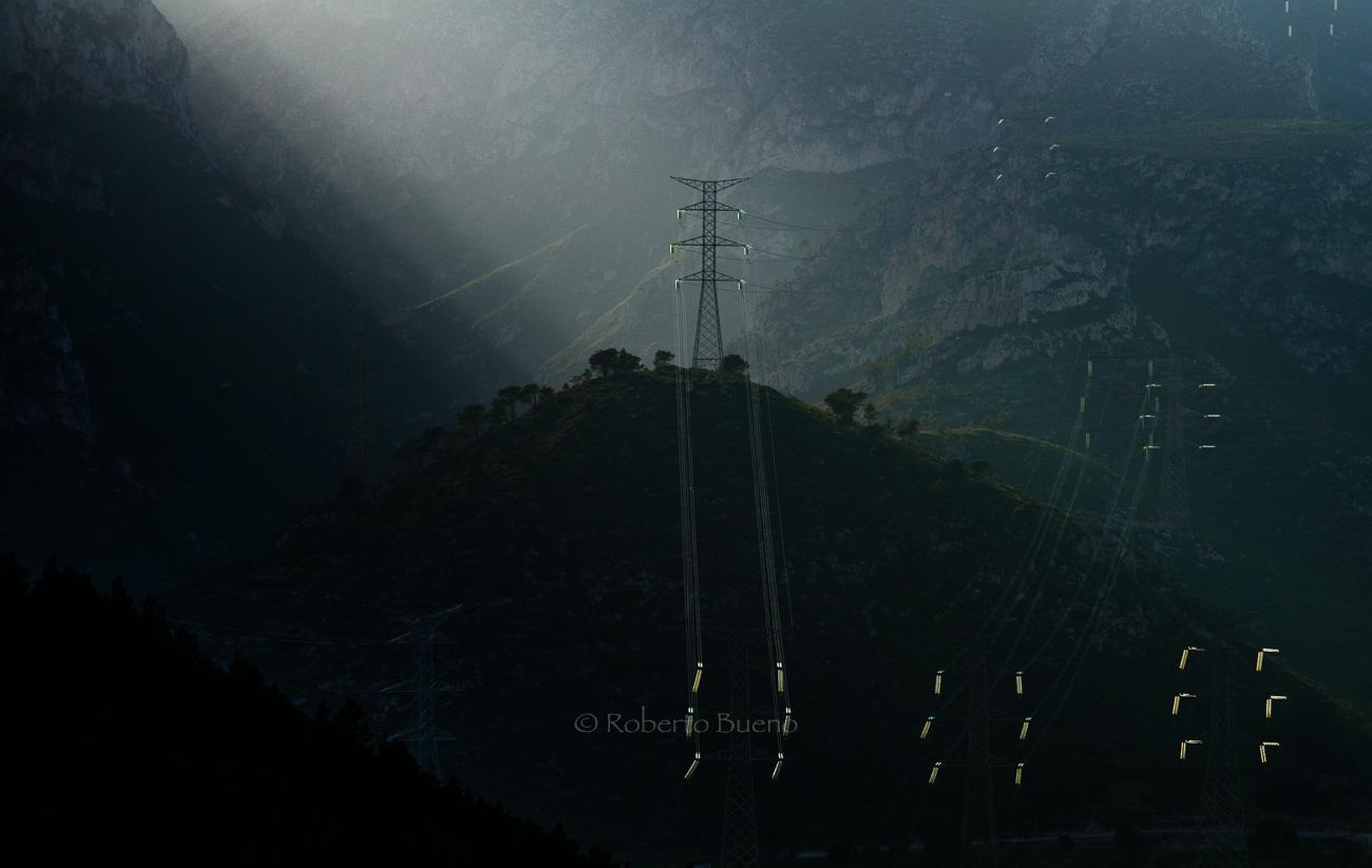 Alta tensión en el paisaje - Energía eólica - Roberto Bueno. Fotografías Energía eólica y aerogeneradores
